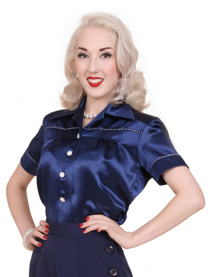 JoJo Blouse Navy Crepe Satin