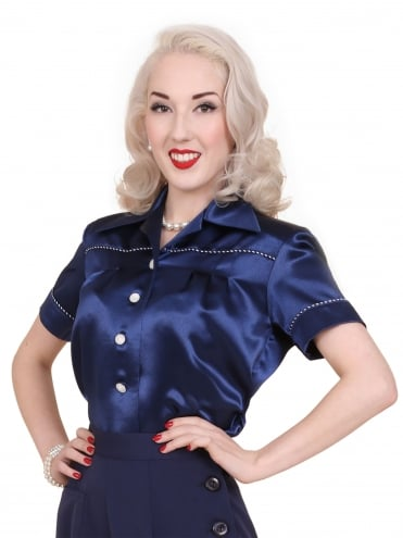 40s-1940s-Vivien-of-Holloway-Best-Vintage-Style-Reproduction-Repro-Jojo-Blouse-Navy-Blue-Satin-Rockabilly-Swing-Pinup