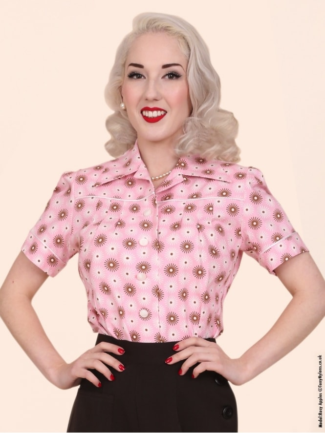 40s-1940s-Vivien-of-Holloway-Best-Vintage-Style-Reproduction-Repro-Jojo-Blouse-Pink-Spiral-Print-Rockabilly-Swing-Pinup