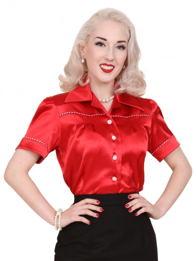 JoJo Blouse Red Crepe Satin