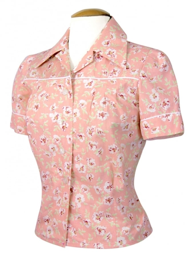 40s-1940s-Vivien-of-Holloway-Best-Vintage-Style-Reproduction-Repro-Jojo-Blouse-Floral-Wall-Flower-Peach-Print-Rockabilly-Swing-Pinup