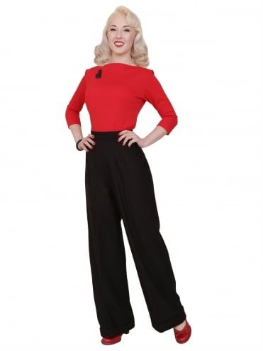 40s-1940s-Vivien-of-Holloway-Best-Vintage-Reproduction-Swing-Trousers-Black-Flannel-Rockabilly-Swing-Pinup