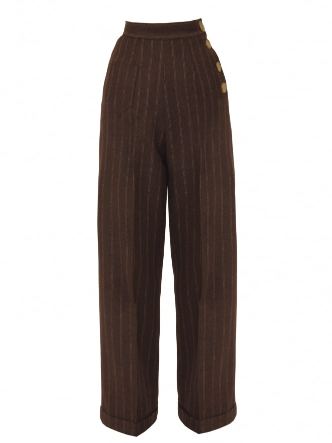 Katharine Trousers Brown Beige Pinstripe