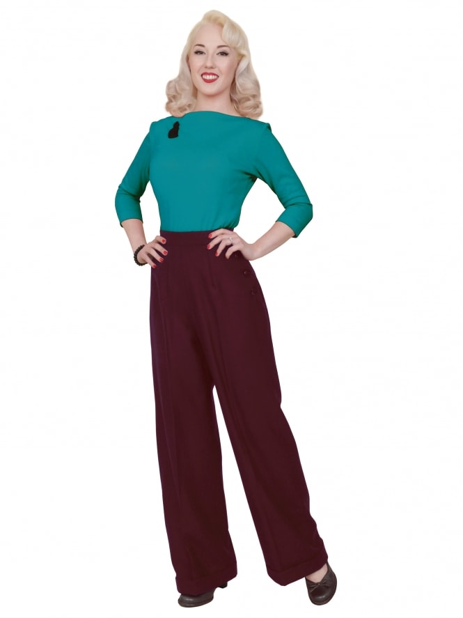 Katharine Trousers Burgundy Flannel