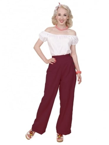 40s-1940s-Vivien-of-Holloway-Best-Vintage-Reproduction-Swing-Trousers-Burgundy-Soft-Rockabilly-Swing-Pinup