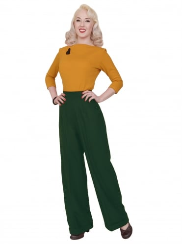 Katharine Trousers Green Flannel