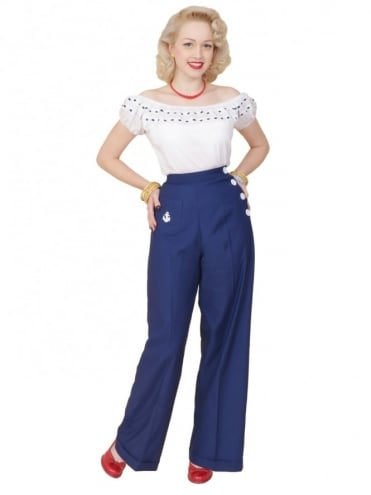 40s-1940s-Vivien-of-Holloway-Best-Vintage-Reproduction-Swing-Trousers-Navy-Anchor-Nautical-Rockabilly-Swing-Pinup