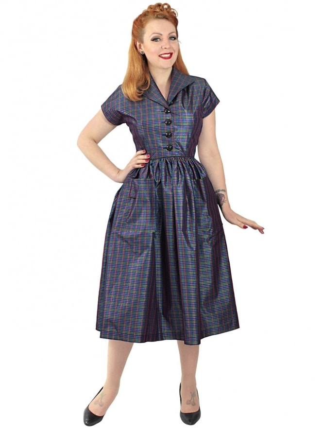 Kitty Blue Green Check Taffeta