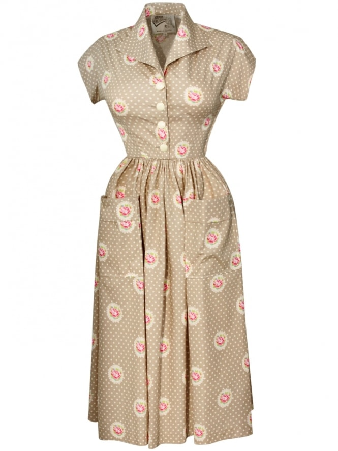 50s-1950s-Vivien-of-Holloway-Best-Vintage-Style-Reproduction-Kitty-Dress-Rose-Dot-Beige-Rockabilly-Swing-Pinup