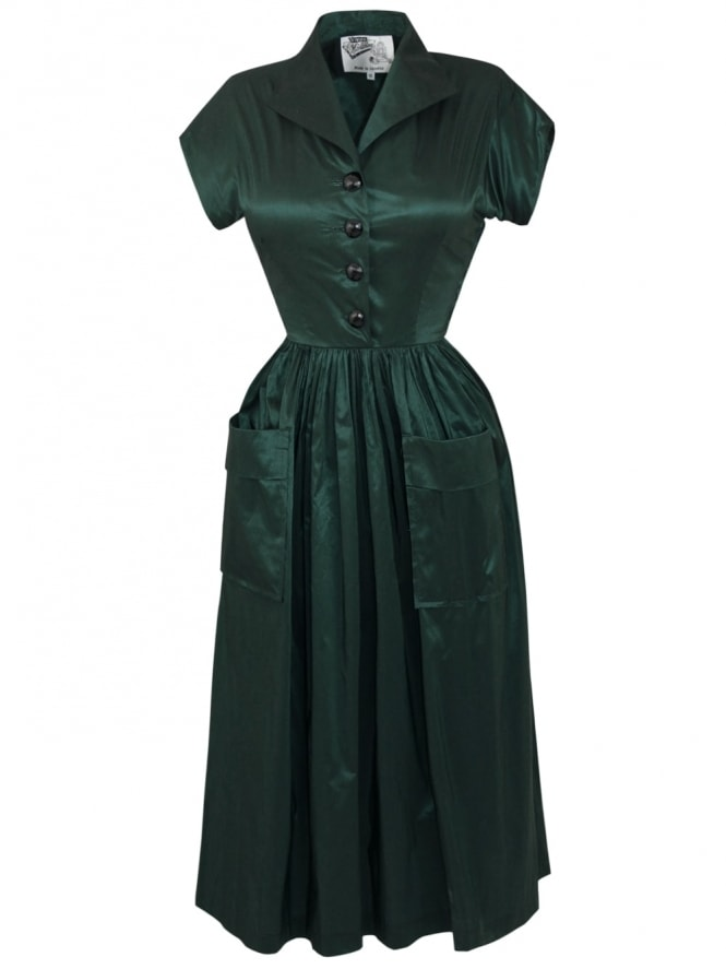 50s-1950s-Vivien-of-Holloway-Best-Vintage-Style-Reproduction-Kitty-Forest-Green-Taffeta-Rockabilly-Swing-Pinup