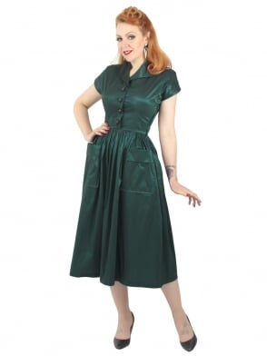 Kitty Forest Green Taffeta