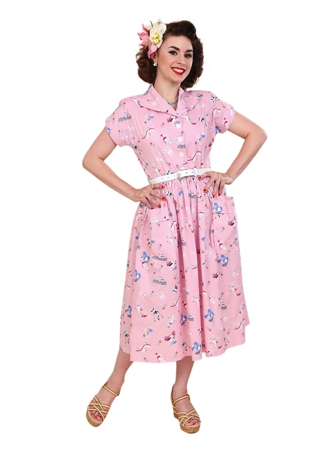 50s-1950s-Vivien-of-Holloway-Best-Vintage-Reproduction-Kitty-Day-Dress-Kitten-Pink-Cat-Animal-Print-Rockabilly-Swing-Pinup