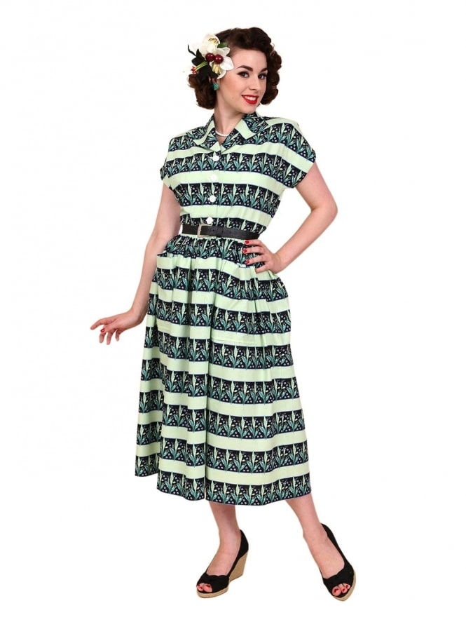 50s-1950s-Vivien-of-Holloway-Best-Vintage-Reproduction-Kitty-Day-Dress-Lily-Valley-Green-Floral-Stripe-Rockabilly-Swing-Pinup