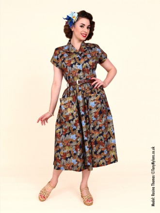 50s-1950s-Vivien-of-Holloway-Best-Vintage-Reproduction-Kitty-Day-Dress-Brown-Maple-Leaf-Print-Rockabilly-Swing-Pinup
