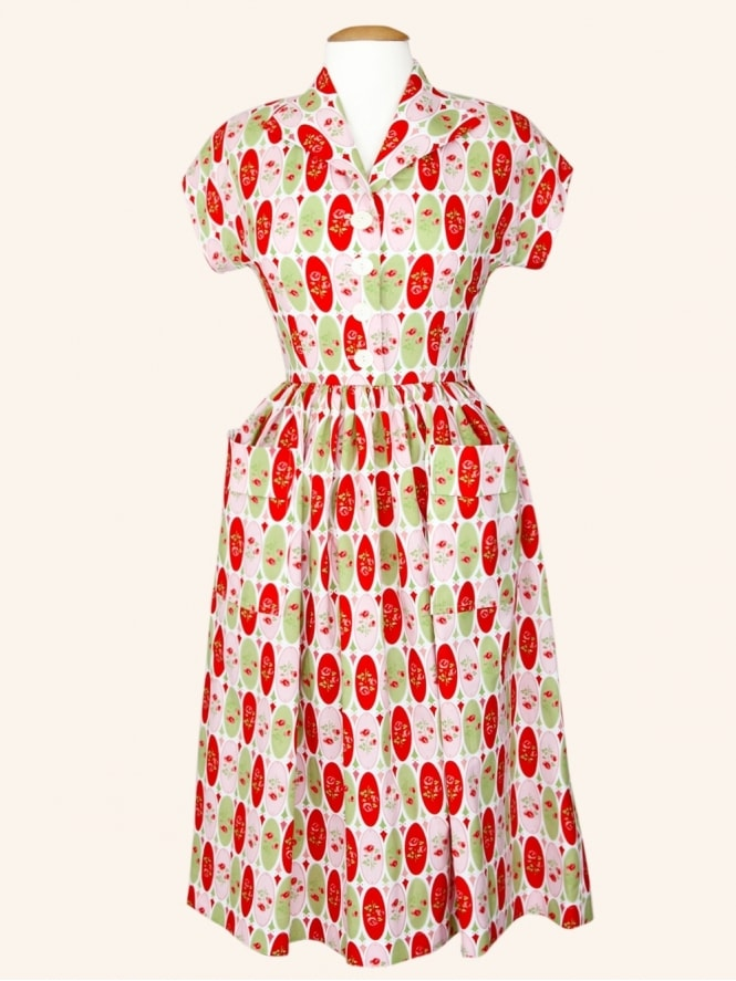 50s-1950s-Vivien-of-Holloway-Best-Vintage-Style-Reproduction-Kitty-Dress-Oval-Pastel-Rose-Rockabilly-Swing