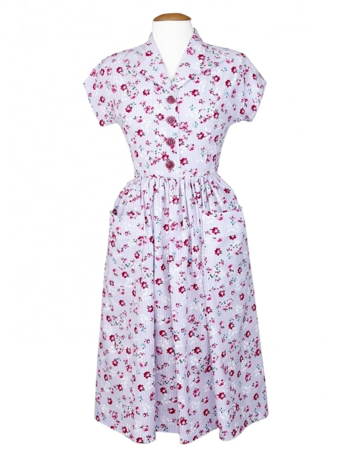 50s-1950s-Vivien-of-Holloway-Best-Vintage-Style-Reproduction-Kitty-Rose-Stripe-Lilac-Rockabilly-Swing-Pinup