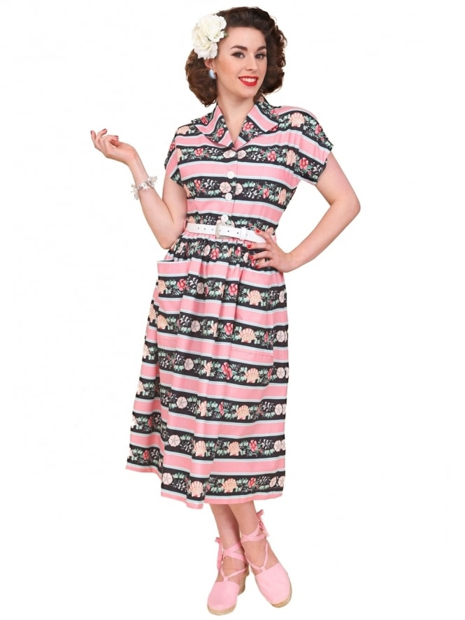 50s-1950s-Vivien-of-Holloway-Best-Vintage-Reproduction-Kitty-Day-Dress-Seashell-Stripe-Pink-Black-Rockabilly-Swing-Pinup
