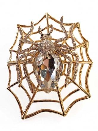 Large Spider Web Brooch Gold