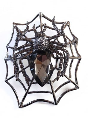 Large Spider Web Brooch Onyx