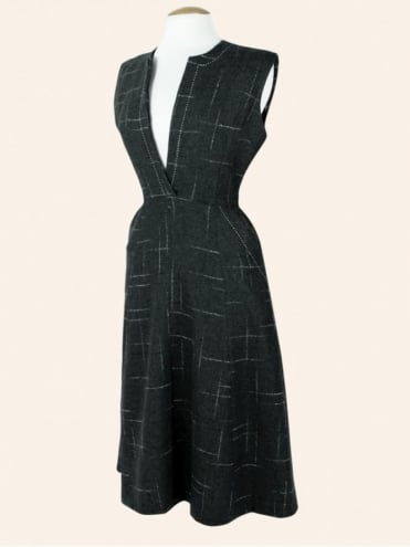 50s-1950s-40s-1940s-Vivien-of-Holloway-Best-Vintage-Style-Reproduction-Repro-Laura-A-Line-Dress-Charcoal-Flannel-Grey-Fleck-Rockabilly-Swing-Pinup