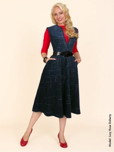 50s-1950s-Vivien-of-Holloway-Best-Vintage-Style-Reproduction-Laura-Dress-Navy-Fleck-Flannel-Rockabilly-Swing-Pinup