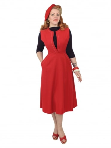 50s-1950s-40s-1940s-Vivien-of-Holloway-Best-Vintage-Style-Reproduction-Repro-Laura-A-Line-Dress-Flannel-Red-Rockabilly-Swing-Pinup