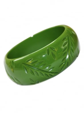 Leaf Green Carved Bangle