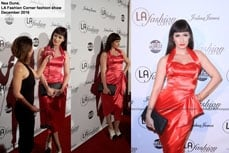 Nea Dune wearing Vivien of Holloway sarong dress at the LA fashion corner, december 2016
