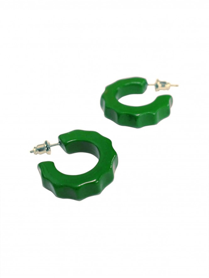 Lydia fakelite hoop stud earrings - Green