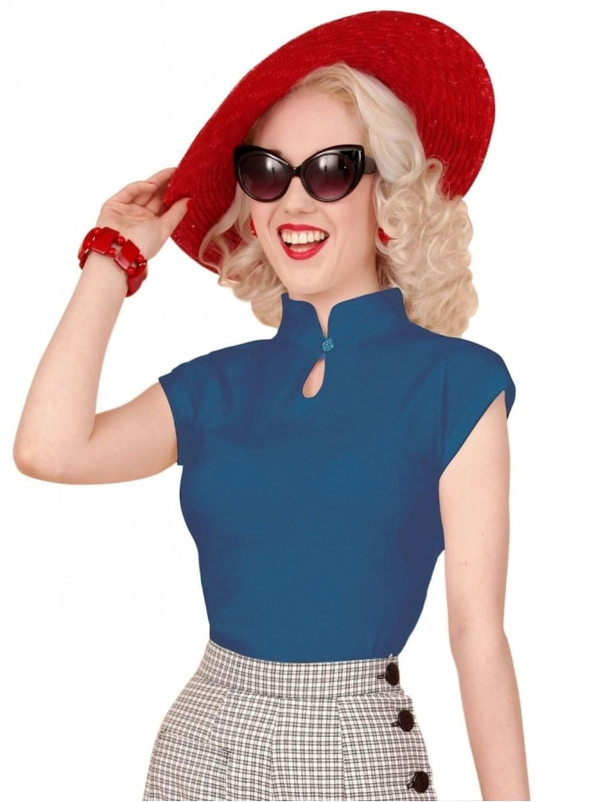 50s-1950s-1940s-40s-Vivien-of-Holloway-Best-Vintage-Style-Reproduction-1940s-Mandarin-Top-Monaco-Blue-Rockabilly-Pinup-Pinupgirl-vintage-vintagestyle-Rocker-Jive