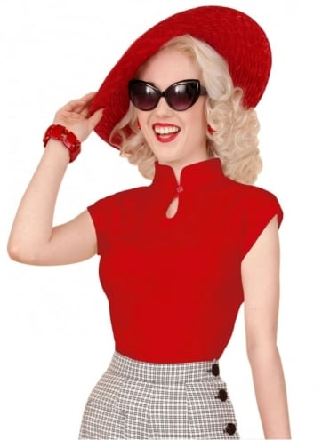 50s-1950s-1940s-40s-Vivien-of-Holloway-Best-Vintage-Style-Reproduction-1940s-Mandarin-Top-Red-Rockabilly-Pinup-Pinupgirl-vintage-vintagestyle-Rocker-Jive