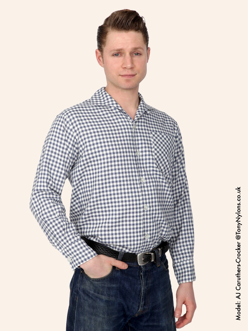 Men 39 s long sleeved blue gingham shirt from vivien of holloway for Mens blue gingham shirt