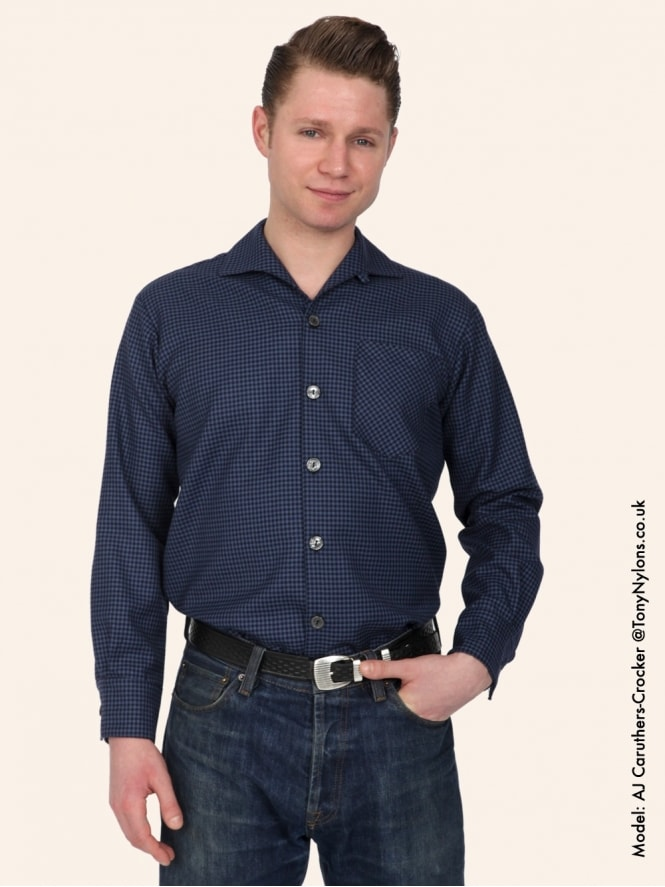 Men's Long-Sleeved Blue Mini Check Shirt