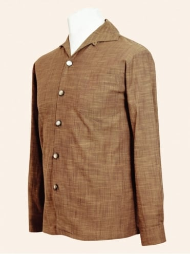 50s-1950s-Vivien-of-Holloway-Best-Vintage-Style-Reproduction-Repro-Mens-Long-Sleeved-Caramel-Cotton-Shirt-Rockabilly-Rocker-Jive