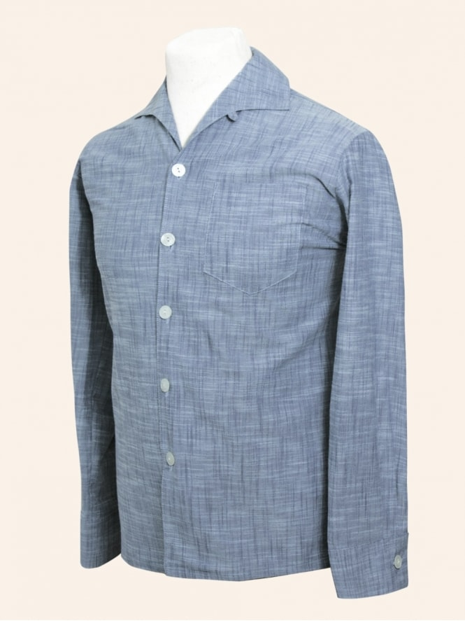 50s-1950s-Vivien-of-Holloway-Best-Vintage-Style-Reproduction-Repro-Mens-Long-Sleeved-Chambray-Cotton-Blue-Shirt-Rockabilly-Rocker-Jive
