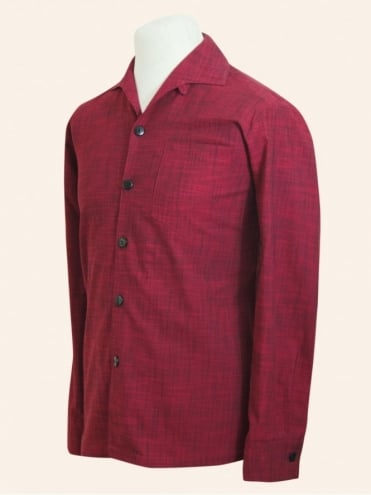50s-1950s-Vivien-of-Holloway-Best-Vintage-Style-Reproduction-Repro-Mens-Long-Sleeved-Crimson-Cotton-Red-Shirt-Rockabilly-Rocker-Jive