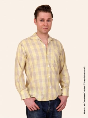 Men's Long-Sleeved Lemon Tartan Shirt