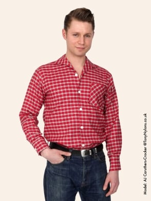 Men's Long-Sleeved SM Red Tartan Shirt