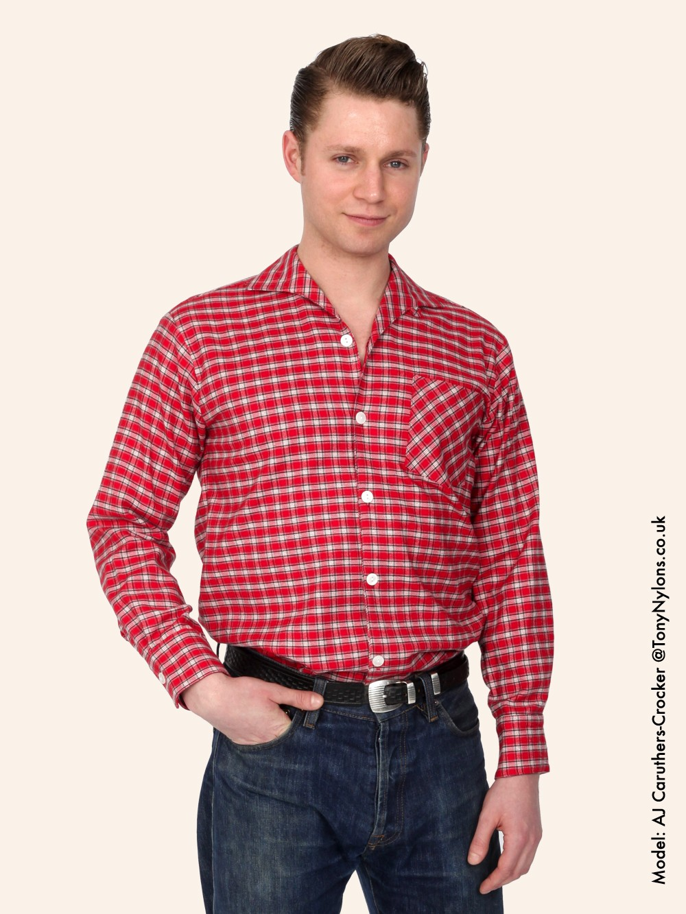 men 39 s long sleeved sm red tartan shirt from vivien of holloway