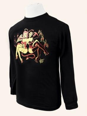 Men's Long Sleeved T-shirt Angel and Devil