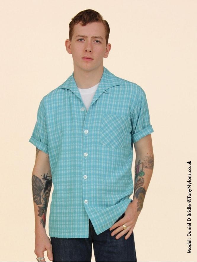 Men's Short-Sleeved Aqua Check Shirt