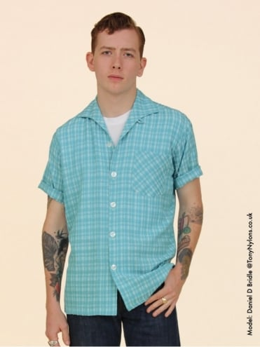 Men's Short-Sleeved Aqua Check Shirt