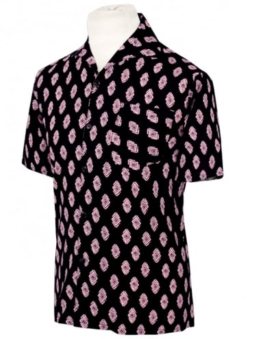 Men's Short-Sleeved Black Pink Diamond Shirt