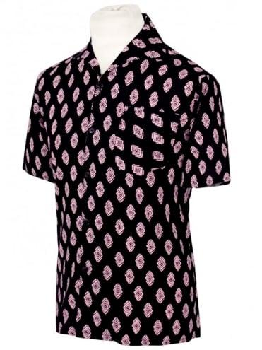 Men's Short-Sleeved Black Pink Diamond Shirt