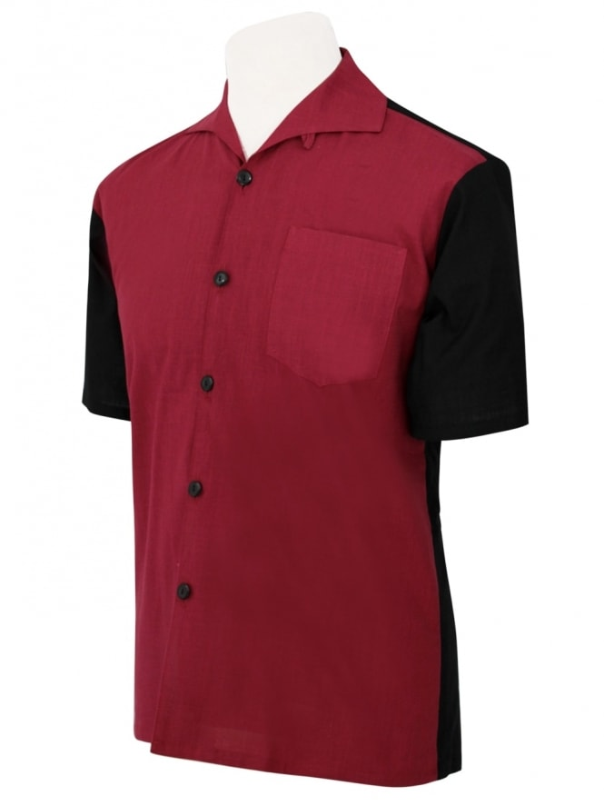 Men's Short-Sleeved Black With Burgundy Panel Shirt