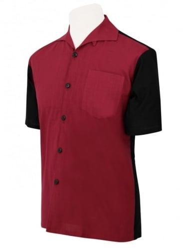 Men's Short-Sleeved Black With Burgundy Panel Shirt
