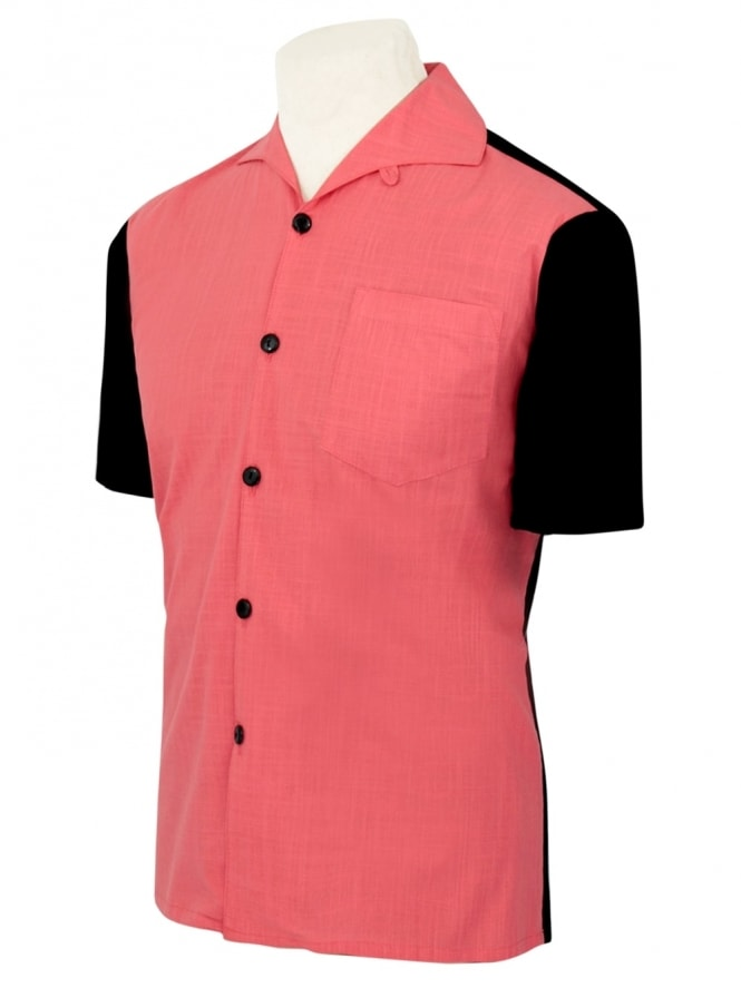 Men's Short-Sleeved Black With Coral Panel Shirt