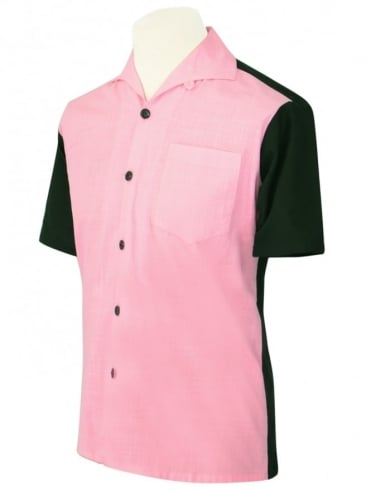 Men's Short-Sleeved Black With Pink Panel Shirt