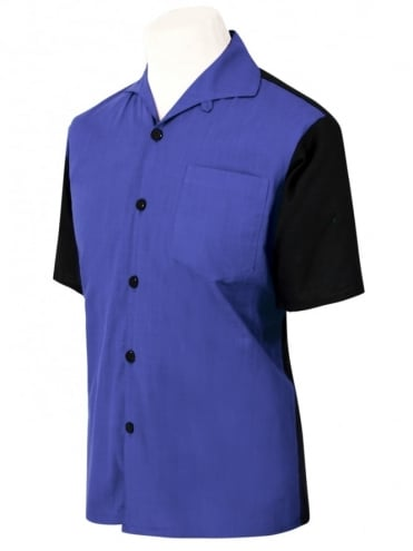 Men's Short-Sleeved Black With Royal Panel Shirt