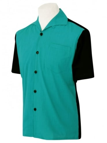 Men's Short-Sleeved Black With Teal Panel Shirt